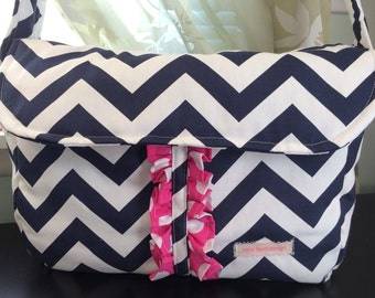 The Mommy Purse- navy and white chevron with pink polka dot interior