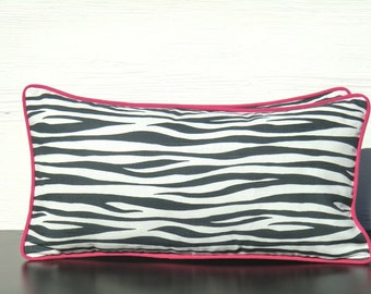 Grey And Hot Pink Throw Pillow Cover 21x11 Charcoal Grey