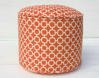 "Orange outdoor pouf 18"" in geometric print, orange floor pouf, round bean bag chair pool side decor, trellis floor cushion"