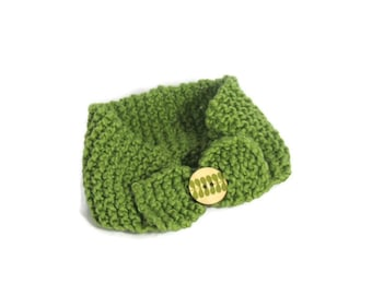 Knit Headband, Ear Warmer, Green Headband, Fiber Art, Organic Cotton, Girls Headband, Head Wrap