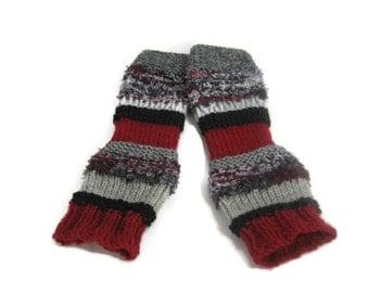 Fingerless Gloves, Knit Gloves, Texting Gloves, Arm Warners,   Red, Burgundy Gray and Black Gloves, Teens, Girls, Womens, Fiber Art