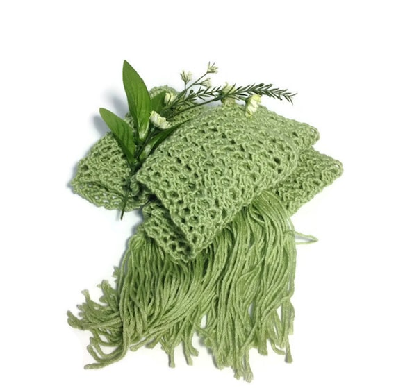 Green Scarf, Knit Scarf, Hand Knit Scarf, Lacy Scarf, Gift Idea For Her, Fiber Art, Women Accessories, Christmas Gift, Fashion Accessory