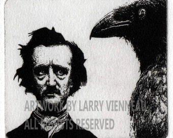 Edgar Allan Poe, Nevermore, Raven artwork , Raven, crow, , Etching. 3 inch x 31/2 inch 2014