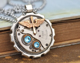 steampunk necklace - AVIATION - vintage aviator charm steampunk watch movement necklace with steel chain, antique silver necklace, wings,