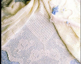 Vintage Baby Crochet PATTERN - Beautiful Heirloom Quality Shawl Baptism Christening download PDF