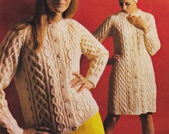 Download PDF Aran Lumber Jacket/Cardigan, Coat and Hat Pattern- 24 to 40 ins sizes.  Fisherman Knit Cable knitting pattern