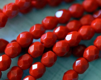 Czech Glass Beads - 6mm Fire Polished Beads - 6mm bright Red beads - Coral Red - 6mm Opaque Red Beads - Faceted Rounds - Bead Soup Beads