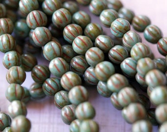 5mm Melon Round Beads - Turquoise Picasso - Czech Glass Beads - 5mm Fluted Round Beads - Bead Soup
