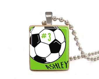 Custom Soccer Player Name Necklace | Soccer Jersey Number Necklaces | Team Necklaces | Soccer Charm | Personalized Soccer Necklace