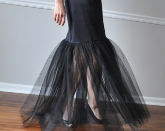 Slip Extender -Long Black Double Layer of Tulle Ruffle Steampunk Petticoat Slip Wedding. Bridesmaid  (also  Available in White )  XS - XXL