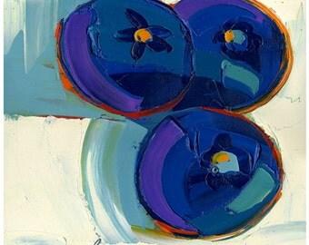 Original painting - Blues of Three -12X12-Modern Fine Art