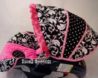 Custom Boutique Black Damask Hot Pink Minky Infant Car Seat Cover 5 Piece set