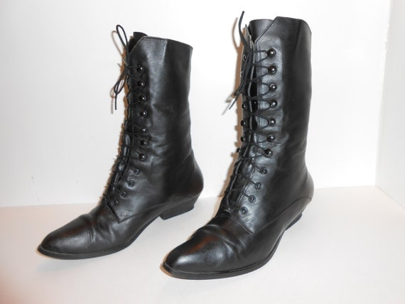 womens 80s black leather tie and lace up boots with by