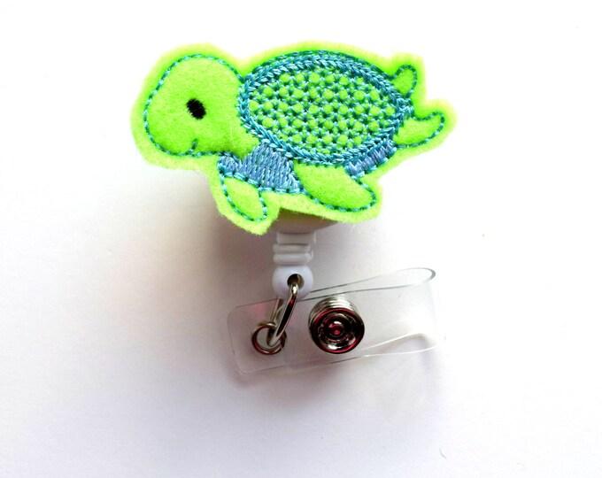 Baby Turtle - Retractable ID Badge Reel - Name Badge Holder - Pediatric Badge Reel - Nurse Badge Holder - Nursing Badge - Felt Badge