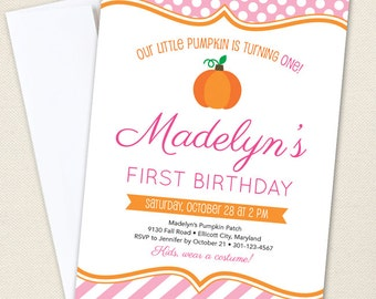 Pink Pumpkin Party Invitations - Professionally printed *or* DIY printable