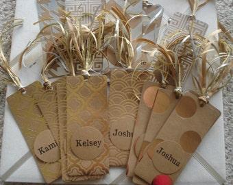 Kraft and Gold Foil Bookmarks