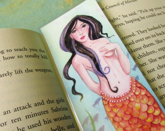 Mermaid Bookmark, Hand Embellished, Hand-Painted Bookmark, Fantasy Bookmark