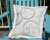 "Outdoor pillow THREE SAND DOLLARS painted 20"" (50cm) all weather beach coastal cabin vacation echinoderm seashell Crabby Chris Original"