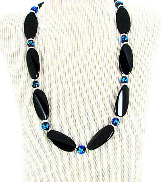 Onyx and Royal Blue Necklace--Elegance for the evening.