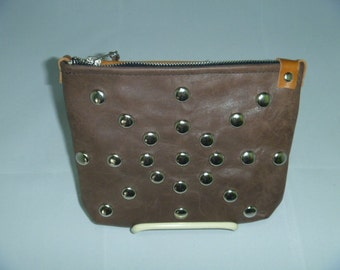 Clutch Brown & Tan leather purse nail head design/outside pocket with blue leather strip on the other side
