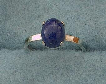 Lapis Lazuli Argentium Silver Stacking Ring, Gemstone Ring