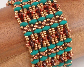 Beading Tutorial for Crest and Trough Bracelet, jewelry pattern, beadweaving tutorials, instant download, PDF