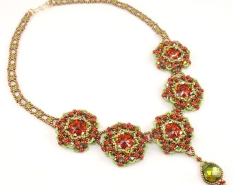 Beading Tutorial for Cabbage Rose Necklace, jewelry pattern, beadweaving tutorials, instant download, PDF