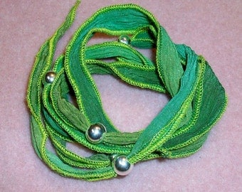 Sea Weed Silk Wrap Sterling Silver Beads and Toggle Bracelet On Sale was 29