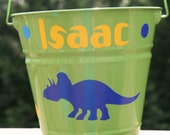 Personalized Birthday, baby shower gift or toy pail bucket for boys or girls with Dinosaurs and polka dots