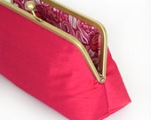 Bridesmaid Gift Custom Silk Fuchsia Wedding Clutches Bags Customize Your Lolis Creations Clutch Purse Personalized Bags