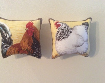 Rooster and Chicken Pillow Magnets