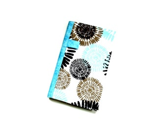 Journal notebook, fabric covered notebook, brown blue, small journal, diary, reusable cover travel journal, back to school, student