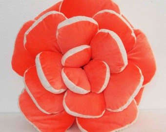 orange pillow  rose petal pouf velvet fabric decorative pillow handmade wedding gift valentine decor