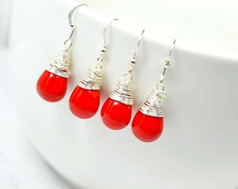 Shiny Red Teardrop Earrings, Opaque Red Glass Drops, Simple Wire Wrap Jewelry, Matte Lipstick Red Droplets