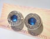 Bullet Jewelry Earrings  - 9mm Stud w Sapphire Blue gem Bullet Jewelry Stud style earrings Nickel plated silver