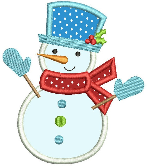 Snowman applique embroidery design cute by