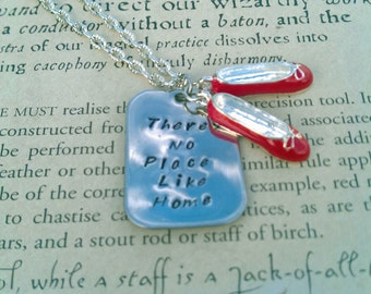 Stamped Pendant Wizard of Oz There's No Place Like Home with Red Slipper Charms