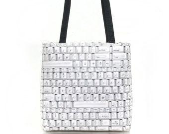 US Handmade Handbag Shoulder Bag With, COMPUTER KEYBOARDING,  Pattern Cotton Fabric, New, Rare