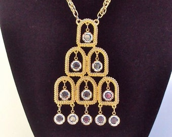 Designer Necklace Pendant with Crystal Dangles in Gold Tone Abstract Vintage