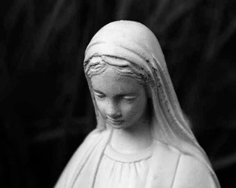 Virgin Mary Statue Photo Peaceful Contemplative Serene Madonna Blessed Mother of Jesus Catholic Religious Christian Art Photography Print