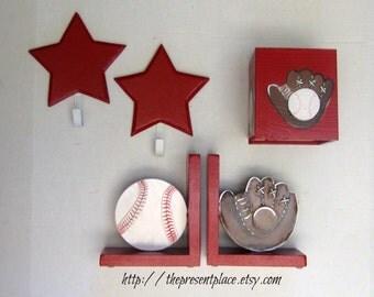 boys gift set,bookends,tissue box,frame,star hooks,sport theme decor,boys nursery decor,boys nursery gift set,sport gift set,baby boy gift