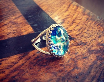 Vintage Blue Opal Sterling Silver Ring