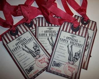 Naughty Santa's Official Delivery Tags Christmas Ephemera Tags set of 6