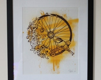 Bird Wheel - Screenprint and Spray Print