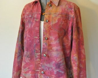 Pink Small Denim Jacket -Orange Cherry Red Hand Dyed Upcycled Sag Harbor Denim Trucker Barn Jacket - Adult Women Size Small (42 chest)