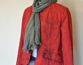 """Red Jrs. Large Denim JACKET - Rustic Red Hand Dyed Upcycled Mossimo Denim Military Style Jacket - Adult Womens Juniors Large (36"""" chest)"""