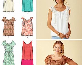 Pullover Tunic Top Pattern, Tunic Mini Dress Pattern, Sz 4 to 26, Simplicity Sewing Pattern 1423