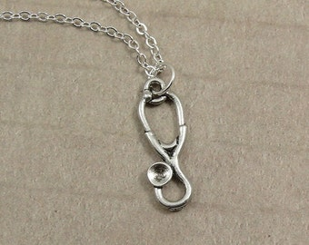 Doctor's Stethoscope Necklace, Silver Stethoscope Charm on a Silver Cable Chain