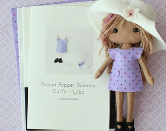 Summer Outfit Pattern Kit for Pocket Poppets - Lilac