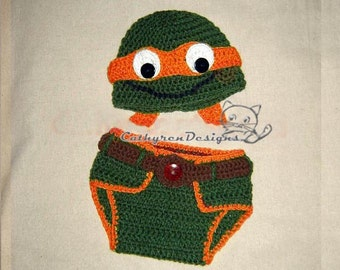 Baby NinJa Turtle Hat and Diaper Cover Set, Photo prop - INSTANT DOWNLOAD Crochet e-Pattern